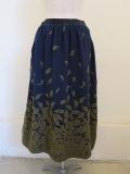 KEI Hayama PLUS(ケイハヤマプリュス),花びらの形ウールパネルジャガードギャザースカート:ネイビー
