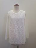 KEI Hayama PLUS(ケイハヤマプリュス),チュール刺繍スカラップレース×リヨセル天竺長袖Tシャツ:オフホワイト