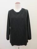 KEI Hayama PLUS(ケイハヤマプリュス),チュール刺繍スカラップレース×リヨセル天竺長袖Tシャツ:ブラック