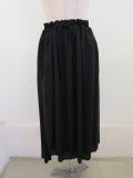 Y's YOHJI YAMAMOTO (ワイズ ヨウジヤマモト),レーヨンスパンローン二重ギャザースカート:ブラック