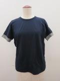 Y's YOHJI YAMAMOTO (ワイズ ヨウジヤマモト),フクレジャガード半袖Tシャツ:ネイビー×チャコール