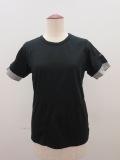 Y's YOHJI YAMAMOTO (ワイズ ヨウジヤマモト),フクレジャガード半袖Tシャツ:ブラック×チャコール