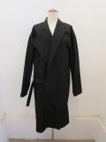 Y's YOHJI YAMAMOTO (ワイズ ヨウジヤマモト),ダウンプルーフ衿アシンメトリ箱ポケットコート:ブラック