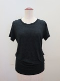 Y's YOHJI YAMAMOTO (ワイズ ヨウジヤマモト),タックレースジャガード丸首半袖Tシャツ:ブラック