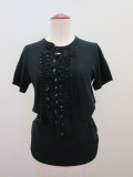 Y's YOHJI YAMAMOTO (ワイズ ヨウジヤマモト),強撚天竺水玉プリントランダムフリル付きTシャツ:ブラック