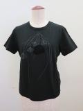Y's YOHJI YAMAMOTO (ワイズ ヨウジヤマモト),丸首半そでドライフラワープリントTシャツ:ブラック