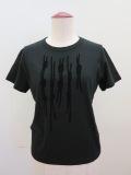 Y's YOHJI YAMAMOTO (ワイズ ヨウジヤマモト),コットン天竺組紐フロッキープリント半袖Tシャツ:ブラック