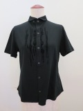Y's YOHJI YAMAMOTO (ワイズ ヨウジヤマモト),コットン天竺組紐フロッキープリント丸衿半袖Tシャツ:ブラック