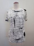 Y's YOHJI YAMAMOTO (ワイズ ヨウジヤマモト),強撚天竺アップルメッセージ丸首半袖Tシャツ:ホワイト