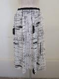 Y's YOHJI YAMAMOTO (ワイズ ヨウジヤマモト),強撚天竺アップルメッセージゴムギャザースカート:ホワイト
