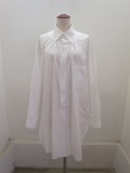 Y's YOHJI YAMAMOTO (ワイズ ヨウジヤマモト),ブロードポピー刺繍ギャザーロングシャツ:ホワイト