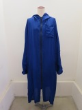 Y's YOHJI YAMAMOTO (ワイズ ヨウジヤマモト),撥水クロスフードドレス:ブルー