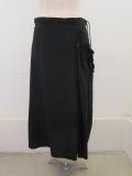 Y's YOHJI YAMAMOTO (ワイズ ヨウジヤマモト),ポプリンギャザーヒモスカート:ブラック