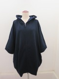 Y's YOHJI YAMAMOTO (ワイズ ヨウジヤマモト),ミニ裏毛六分袖ゆったりパーカー:ネイビー