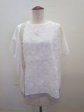 KEI Hayama PLUS(ケイハヤマプリュス),ボタニカルステッチ刺繍×微強撚天竺半袖Tシャツ:ホワイト