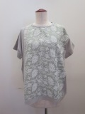 KEI Hayama PLUS(ケイハヤマプリュス),ボタニカルステッチ刺繍×微強撚天竺半袖Tシャツ:ライトグリーン