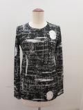 Y's YOHJI YAMAMOTO (ワイズ ヨウジヤマモト),強撚天竺アップルメッセージ丸首長袖Tシャツ:ブラック