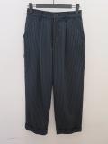 KEI Hayama PLUS(ケイハヤマプリュス),ペンシルストライプワンタック裾ダブルパンツ:ネイビー