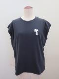 H.A.K (ハク),スヌーピープリントフレンチTシャツ:ダークチャコール