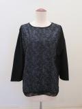 Y's YOHJI YAMAMOTO (ワイズ ヨウジヤマモト),フラワー刺繍レース六分袖Tシャツ:ブラック