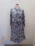 KEI Hayama PLUS(ケイハヤマプリュス),フライングバードプリントテンセルキュプラローン七分袖台衿ワンピース:グレー