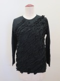 H.A.K (ハク),スピンギザ天竺七分袖フリルTシャツ:ブラック