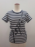 Y's YOHJI YAMAMOTO (ワイズ ヨウジヤマモト),ボーダー天竺WAX顔料Y'sPIGプリント半袖Tシャツ:ネイビー