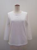 KEI Hayama PLUS(ケイハヤマプリュス),スーピマ天竺七分袖Tシャツ:ホワイト