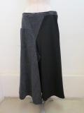 Y's YOHJI YAMAMOTO (ワイズ ヨウジヤマモト) デニムウールコンビ三角マチフレアースカート:ブラック