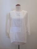 KEI Hayama PLUS(ケイハヤマプリュス),異素材レースミックス×リヨセル綿天竺七分袖Tシャツ:ホワイト