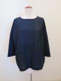 KEI Hayama PLUS(ケイハヤマプリュス),異素材レースミックス×リヨセル綿天竺七分袖Tシャツ:ネイビー