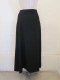 Y's YOHJI YAMAMOTO (ワイズ ヨウジヤマモト),シワギャバマチ付きアシメハンドステッチスカート:ブラック