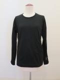 Y's YOHJI YAMAMOTO (ワイズ ヨウジヤマモト),擦れチェックフクレ丸首長袖Tシャツ:ブラック