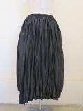 KEI Hayama PLUS(ケイハヤマプリュス),ライトタフタシワ加工×80/20ギザリヨセル天竺ウエストゴムギャザースカート:ブラック