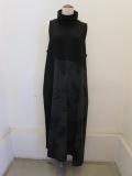 Y's YOHJI YAMAMOTO (ワイズ ヨウジヤマモト),天竺+ウールビエラハイネックノースリーブドレス:ブラック/ブラック
