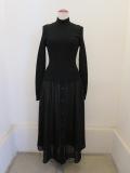 Y's YOHJI YAMAMOTO (ワイズ ヨウジヤマモト),ウールリブニット+ウールボイルニット切り替えドレス:ブラック