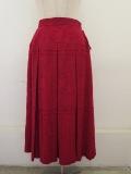 KEI Hayama PLUS(ケイハヤマプリュス),スクエアーガーデンジャガードボックスプリーツスカート:レッド