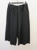 Y's YOHJI YAMAMOTO (ワイズ ヨウジヤマモト),ウールレーヨンツイルシワ加工7分丈ひもパンツ:ブラック