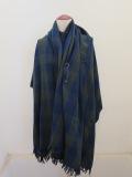 Y's YOHJI YAMAMOTO (ワイズ ヨウジヤマモト),平織縮絨ブロックチェック大判2枚接ストール:ブルー