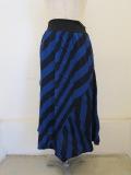 KEI Hayama PLUS(ケイハヤマプリュス),タックボーダージャガードウエストエイブセミフレアースカート:ブルー