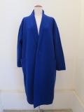 KEI Hayama PLUS(ケイハヤマプリュス),強縮絨ニット8.5Gフロントホックコート:ブルー