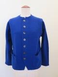 KEI Hayama PLUS(ケイハヤマプリュス),強縮絨ニット8.5Gアウトポケットジャケット:ブルー