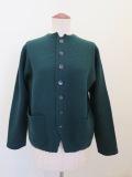 KEI Hayama PLUS(ケイハヤマプリュス),強縮絨ニット8.5Gアウトポケットジャケット:グリーン