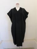 KEI Hayama PLUS(ケイハヤマプリュス),ウールコットンポンチコットンシルクテープ刺繍フレンチワンピース:ブラック