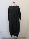 KEI Hayama PLUS(ケイハヤマプリュス),エンブロイダリーレースキュプラ綿シワ加工6分袖ワンピース:ブラック