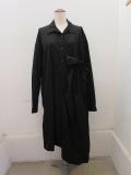 Y's YOHJI YAMAMOTO (ワイズ ヨウジヤマモト),100/2綿ブロード左ギャザーシャツドレス:ブラック