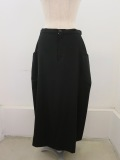 Y's YOHJI YAMAMOTO (ワイズ ヨウジヤマモト),シワギャバナナメ脇ポケットスカート:ブラック