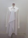 Y's YOHJI YAMAMOTO (ワイズ ヨウジヤマモト),100/2綿ブロード前フラシスクエアブラウス:ホワイト