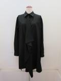 Y's YOHJI YAMAMOTO (ワイズ ヨウジヤマモト),100/2綿ブロード前フラシスクエアブラウス:ブラック