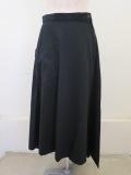 YAMAMOTO (ワイズ ヨウジヤマモト),コットンツイル三角フレアスカート:ブラック